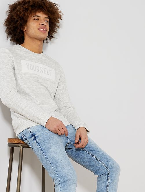 Sweat message floquée                             écru chiné Homme