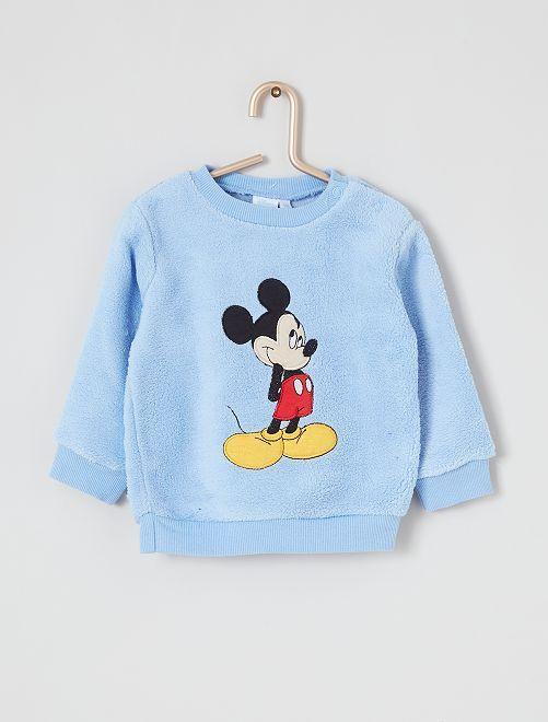 Sweat 'Mickey' maille peluche                                         bleu