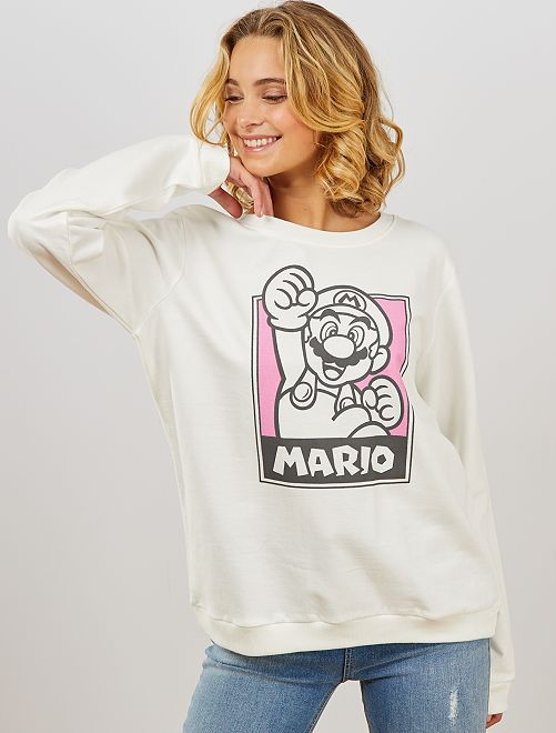 Sweat molletonné 'Mario'                             blanc