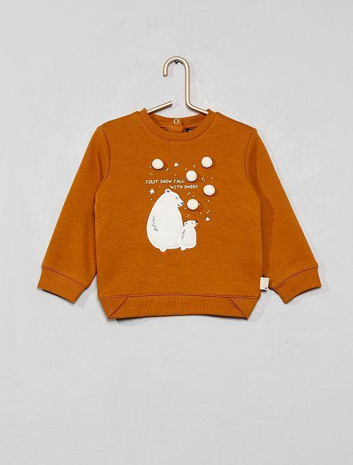 Sweat 'ours' et 'pompons' en relief                                         orange