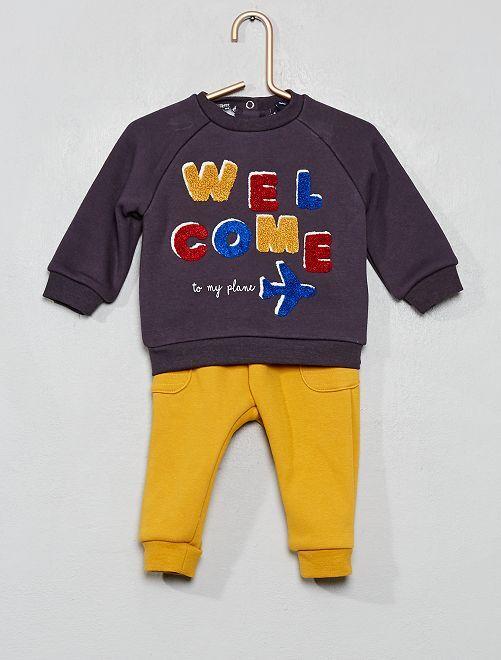 Sweat + pantalon doublé polaire                                         gris/jaune
