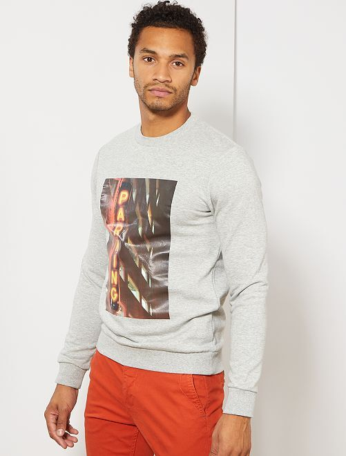 Sweat photoprint                                                                 gris clair chiné