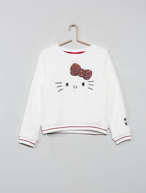 Sweat polaire effet mouton 'Hello Kitty'                             écru