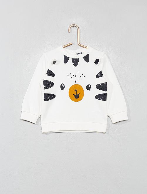 Sweat pur coton avec animation                                                     blanc Bébé garçon