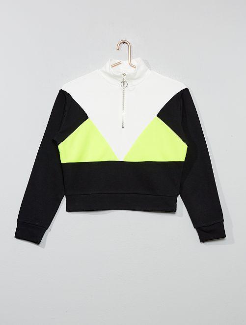 Sweat tricolore graphique                             écru/jaune fluo/noir Fille adolescente
