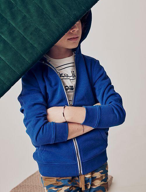 Sweat uni zippé                                                                                                                 bleu foncé