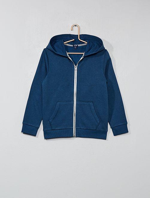 Sweat uni zippé                                                                                         bleu foncé Garçon