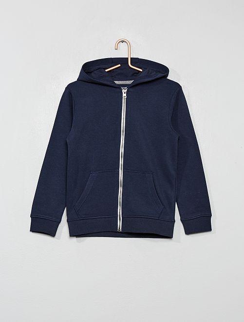 Sweat uni zippé                                                                                                                 bleu marine
