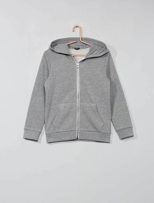 Sweat uni zippé                                                                             gris clair chiné
