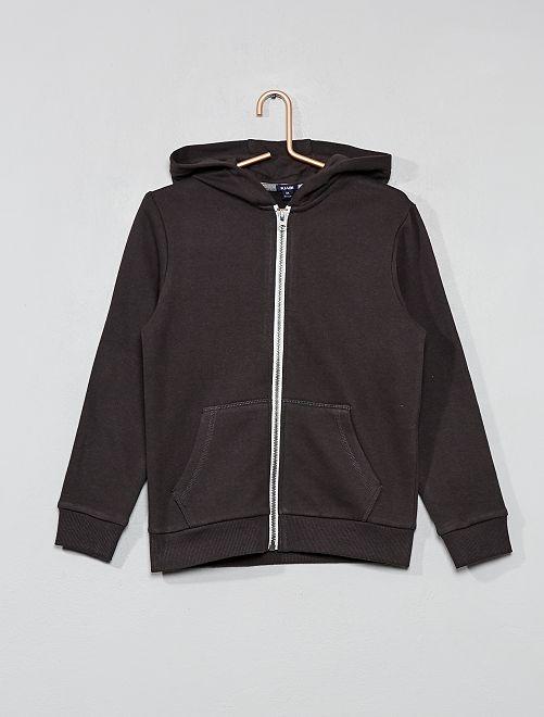 Sweat uni zippé                                                                                         gris foncé Garçon