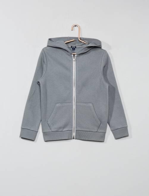 Sweat uni zippé                                                                                                     gris vert Garçon