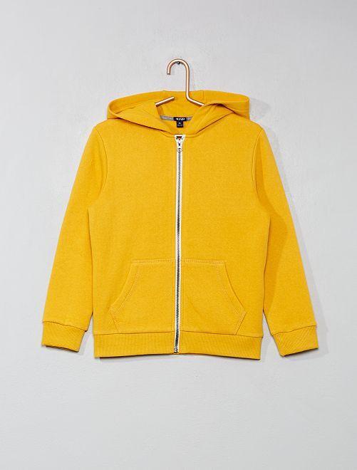 Sweat uni zippé                                                                                         jaune Garçon