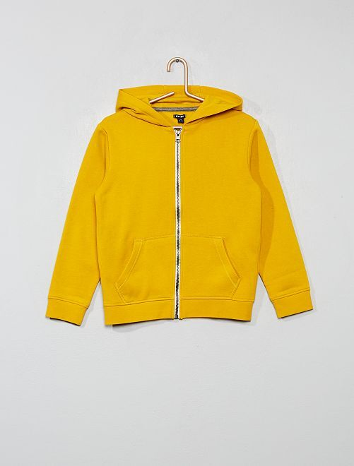 Sweat uni zippé                                                                                                                             jaune moutarde