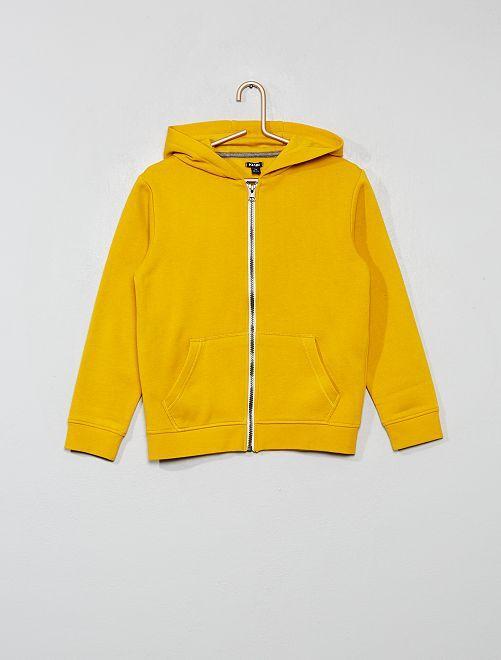 Sweat uni zippé                                                                                                                                         jaune moutarde