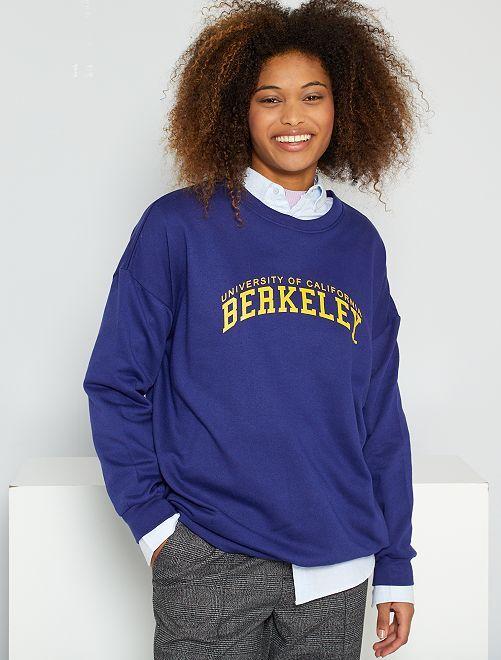 Sweat université américaine oversize                             bleu/violet