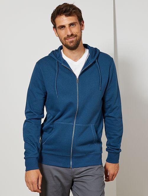 Sweat zippé à capuche +1m90                                         bleu canard Homme de plus d'1m90