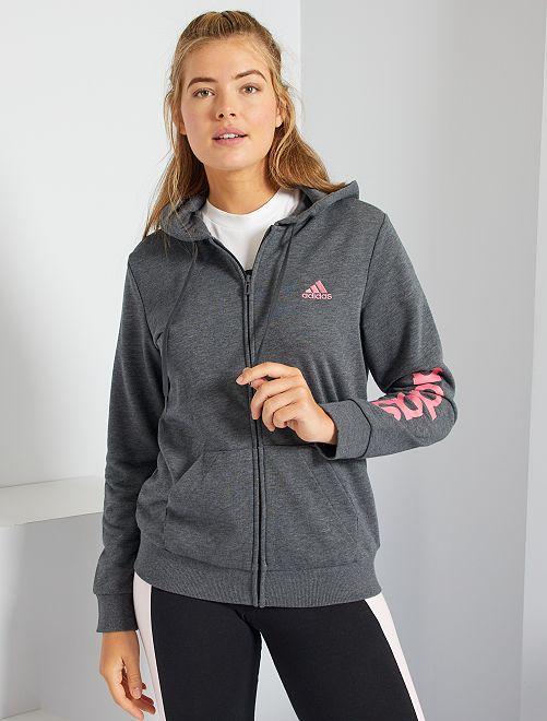 Sweat zippé à capuche 'adidas'                             gris chiné