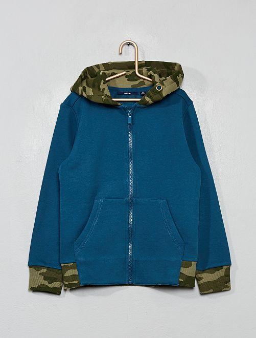 Sweat zippé à capuche                                                     bleu canard