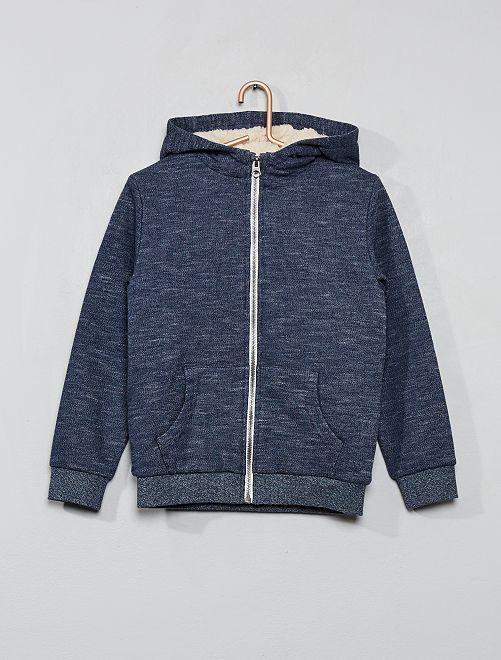Sweat zippé à capuche                                                                 bleu