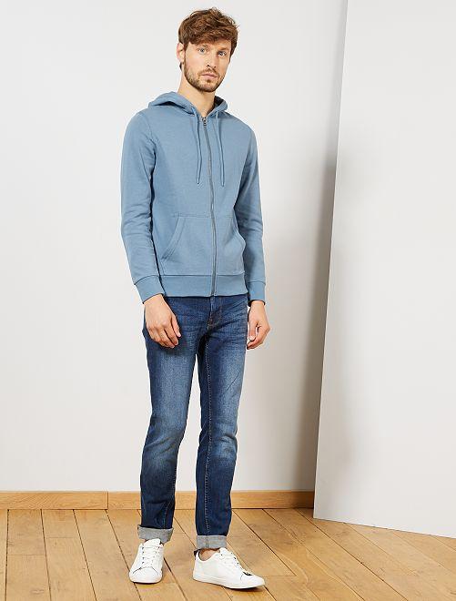 Sweat zippé à capuche                                                                                                                                                                                 bleu gris
