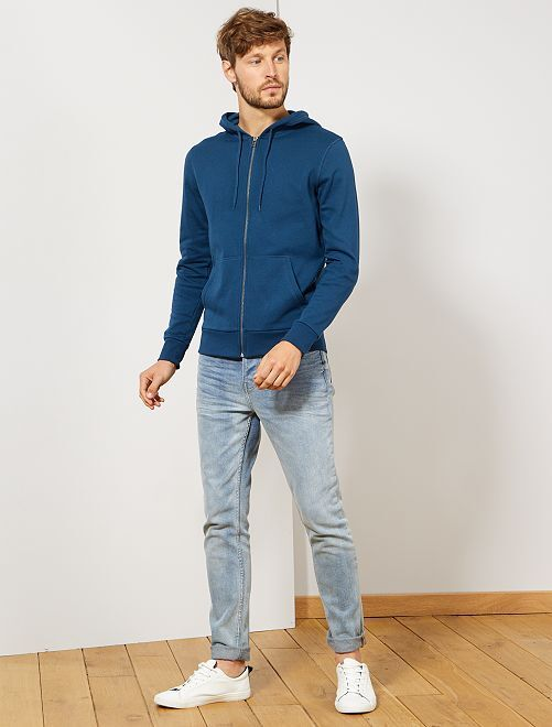 Sweat zippé à capuche                                                                                                                                                                             bleu Homme