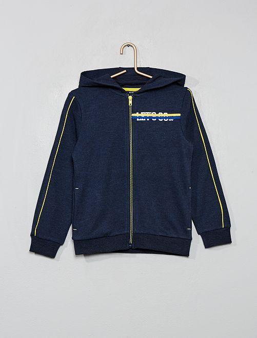 Sweat zippé à capuche                                 bleu marine