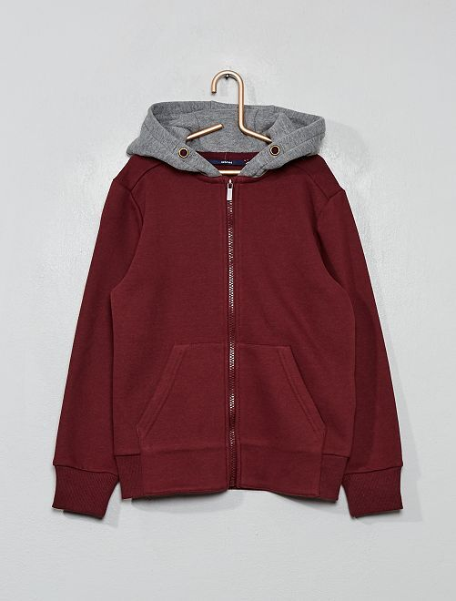 Sweat zippé à capuche                                                     bordeaux