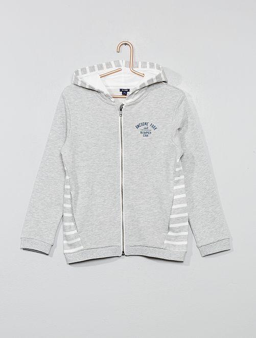 Sweat zippé à capuche détails rayés                                         gris chiné