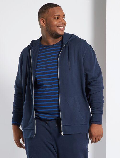 Sweat zippé à capuche éco-conçu                                                                             bleu marine
