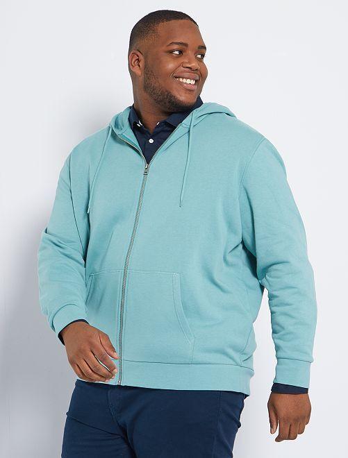 Sweat zippé à capuche éco-conçu                                                                             vert grisé
