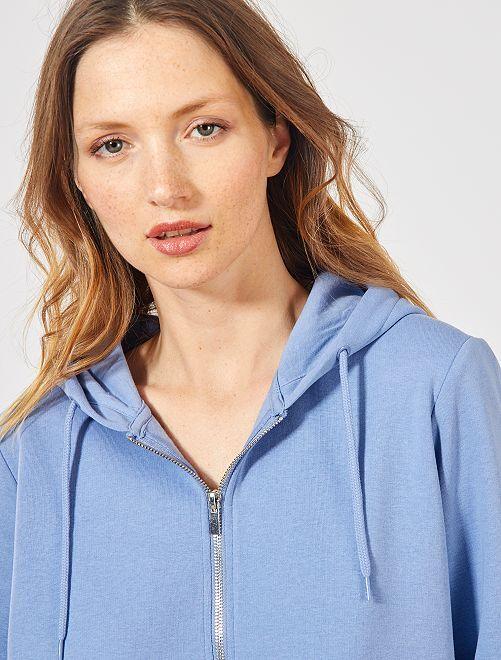 Sweat zippé à capuche en molleton                                                                                                                                                                                                     bleu ciel