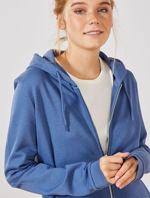 Sweat zippé à capuche en molleton                                                                                                     bleu Femme