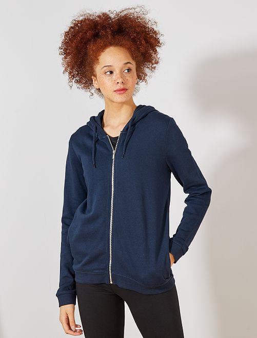 Sweat zippé à capuche en molleton                                                                                                     bleu marine Femme