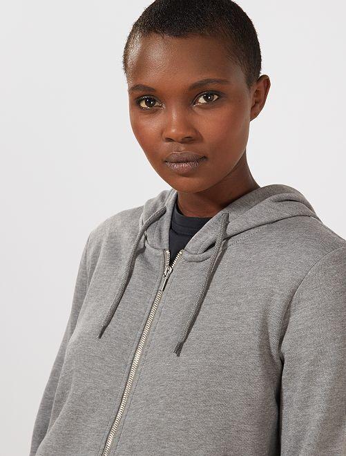 Sweat zippé à capuche en molleton                                                                                                                 gris chiné Femme