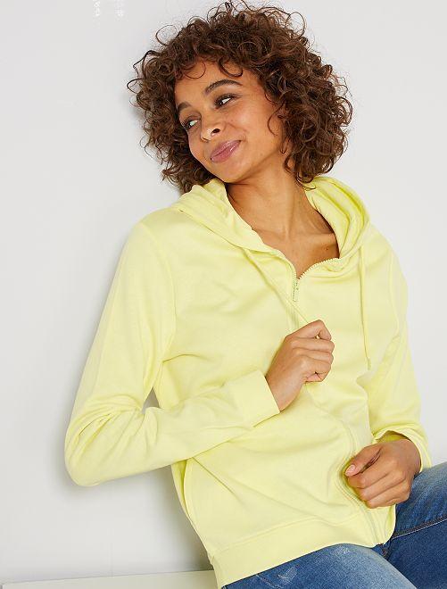 Sweat zippé à capuche en molleton                                                                                                                                                                             jaune