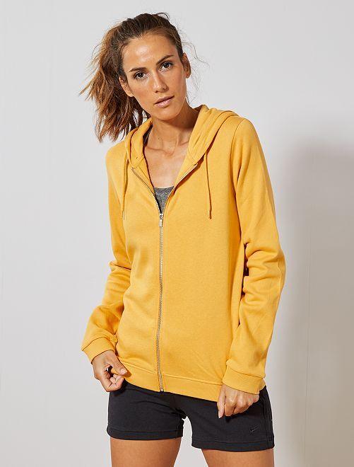 Sweat zippé à capuche en molleton                                                                                         jaune Femme