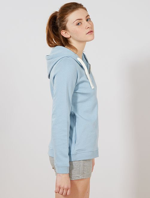 Sweat zippé à capuche en molleton léger                                                                                                                             bleu gris Femme