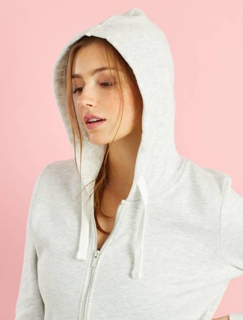 Sweat zippé à capuche en molleton léger                                                                                                                             écru chiné Femme