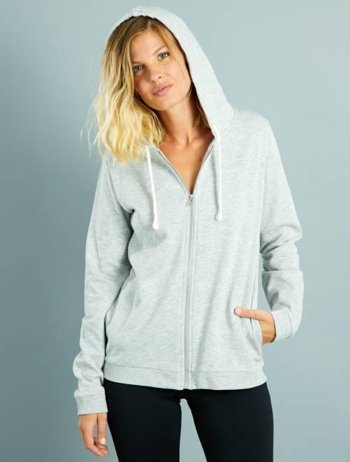 Sweat zippé à capuche en molleton léger gris chiné clair Femme