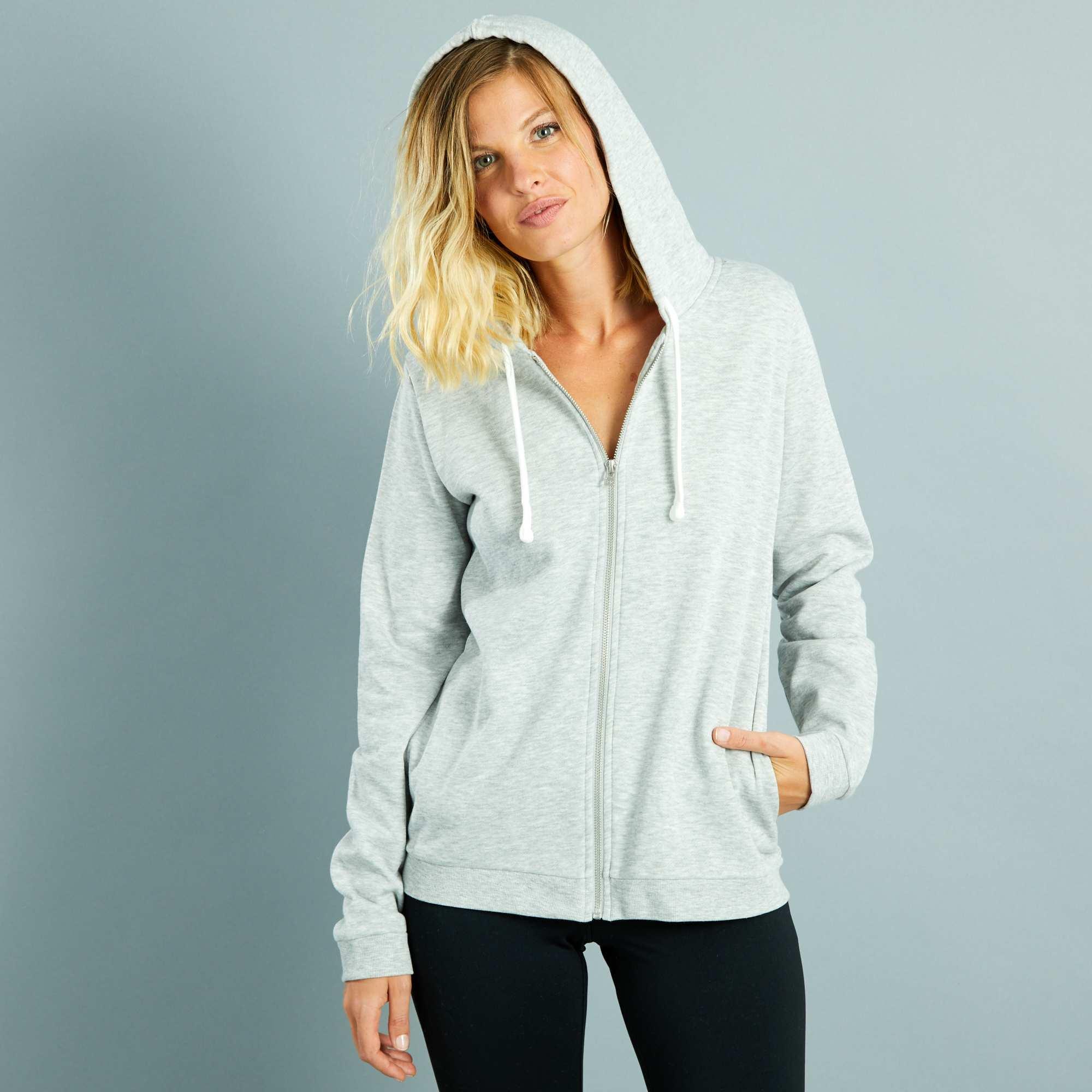 sweat zipp capuche en molleton l ger femme gris chin clair kiabi 10 00. Black Bedroom Furniture Sets. Home Design Ideas