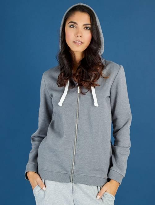 Sweat zippé à capuche en molleton léger                                                                                                         gris chiné Femme