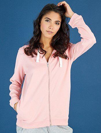 Sweat zippé à capuche en molleton léger                                                                                                     rose Femme