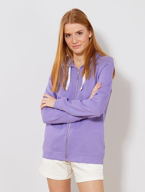 Sweat zippé à capuche en molleton léger                                                                                                     violet Femme