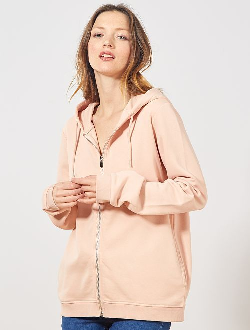 Sweat zippé à capuche en molleton                                                                             rose clair