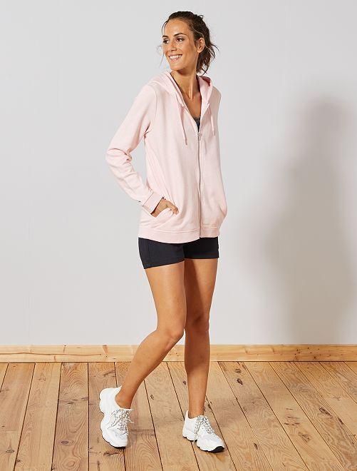 Sweat zippé à capuche en molleton                                                                                         rose Femme