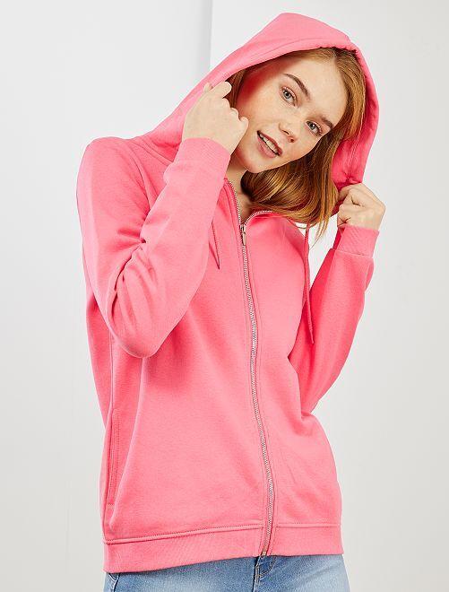 Sweat zippé à capuche en molleton                                                                                                                                                                 rose vif