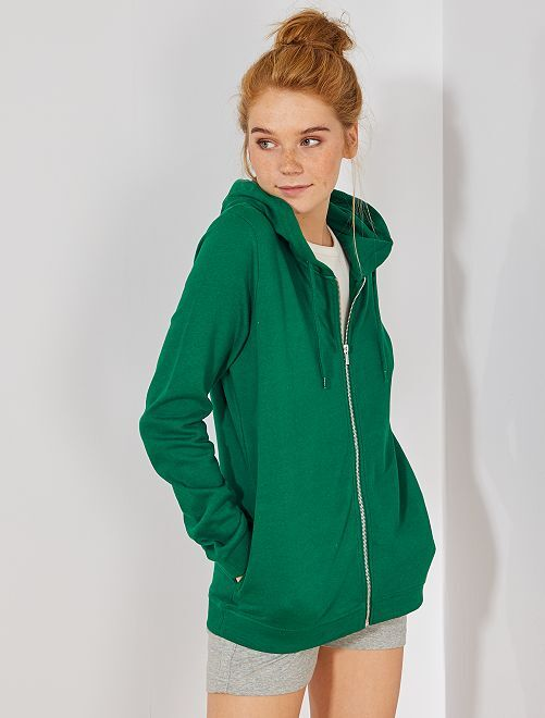 Sweat zippé à capuche en molleton                                                                                                                 vert Femme
