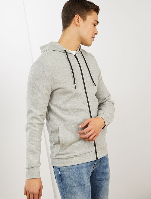 Sweat zippé à capuche                             gris clair chiné