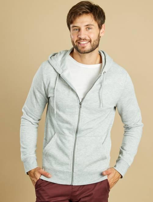 Sweat zippé à capuche                                                                                                                                         gris clair Homme