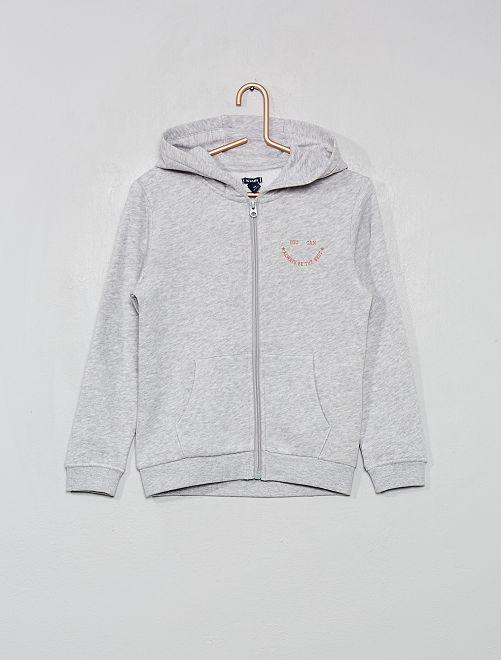 Sweat zippé à capuche                                                     gris